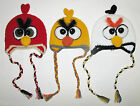 HAND MADE/CROCHET ANGRY BIRDS RED/YELLOW/WHITE HAT+TASSELS- SIZE 1T-8T-NEW