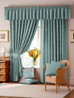 "LANA 3"" TAPE DAMASK FULLY LINED CURTAINS IN LIGHT BLUE"