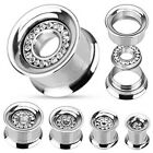 Pair Steel Interchangeable Gem Rim Plate Screw Fit Plugs Tunnels Gauges