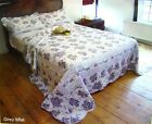 Patchwork Floral Quilted Bedspread Grey Mist Single Double King Pillow Cases