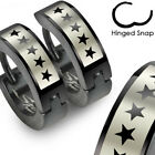 Pair of Stainless Steel 5-Star Black Hinged Hoop Huggie Cuff Earrings Men Women
