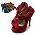 ollio Womens Pumps Platform Open Toe High Heels Ribbon Accent Multi Colored Shoe