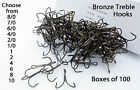 100 treble hooks bronze 12 sizes Available 6/0- 10 extra strong Hook