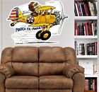 STEARMAN BIPLANE CARTOON WALL GRAPHIC FAT DECAL MAN CAVE ROOM MURAL PRINT 4038