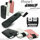 REAL GENUINE COW LEATHER PULL CASE POUCH COVER HOLDER WALLET FOR IPHONE 5/5G/5S