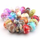 Mixed Colorful Round Charms Artistic Flower Acrylic Beads Fit European Bracelet
