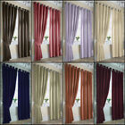 ELLA PLAIN LINED SATIN RING TOP/EYELET CURTAINS IN MULTIPLE COLOURS