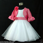 Kids Pink Easter Wedding Party Flower Girls Dress + Cardigan AGE 1,2,4,6,8,10,12