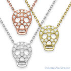 Skull Charm Cubic Zirconia CZ Crystal Pendant Chain Necklace 925 Sterling Silver