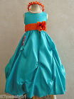 JADE TEAL MERMAID ORANGE FLOWER GIRL DRESS SIZE  2T/2 3 4 5 6X 6 7 8 10 12 14