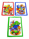 Tea Time Themed Cotton Tea Towels 45cm x 67cm Blue Green Red Border
