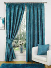 Faux Silk Embroidered Floral Leaf Teal Ready Made Fully Lined Tape Curtains