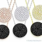Circle Micro Pave Disc Cubic Zirconia Crystal Pendant Sterling Silver Necklace