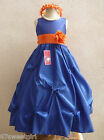 ROYAL BLUE ORANGE PAGEANT GOWN FLOWER GIRL DRESS 2T/2 3 4 5 6X 6 7 8 10 12 14