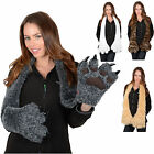Adult Novelty Faux Fur Scarf With Claws & Paws Leopard Print White Beige Or Grey