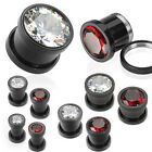 Pair Black Titanium Large Gem Hollow Screw Fit Ear Plugs Tunnels Gauges