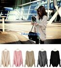Fashion Womens Mixed Loose Warm Wool Knit Cardigan Outwear Batwing Sweater Coat