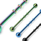 "Titanium Anodized 14G 1&1/2"" Triple Notched Industrial Barbell 5mm Ball Size"