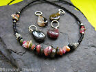 Various druzy natural TOURMALINE gemstone pendant glass beaded chips necklace
