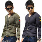 New Mens Slim Fit T-Shirt Muscle Man Tops V Neck Long Sleeve Casual Tunic Tees