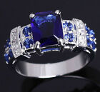 Size 6 7 8 9 10 Jewelry Woman's Blue Sapphire 18k White Gold Filled Ring Gift