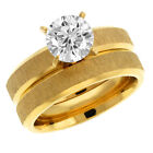 2.17 Ct Gold Tone Cubic Zirconia CZ 2 Piece Engagement Wedding Ring and Band Set