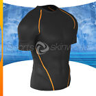 Mens Compression Tesla Short Sleeve Black/Orange Stripe R03B/O S ~ 2XL