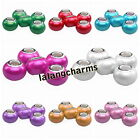 New Mixed Colorful Smooth Resin European Spacer Beads Charms Fit Bracelets DIY