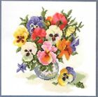 ADORABLE COUNTED CROSS STITCH KIT/FLOWERS/PAINSIES IN A VASE COUNT 16