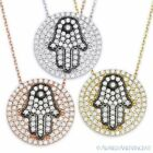 Hamsa Hand of Fatima Judaica Evil Eye Pendant .925 Sterling Silver & CZ Necklace