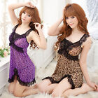 New Pink Purple Brown Leopard Sexy Lingerie Babydoll Chemise Nightie M-XXL 8-16