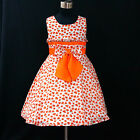 O6601 Orange Princess Wedding Party Fancy Flower Girls Dress SZ 2-3-4-5-6-7-8-10