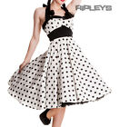 HELL BUNNY Rockabilly 50s Dress ADELAIDE Polka Dot Pin Up WHITE Black All Sizes