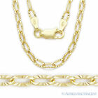 .925 Sterling Silver 14k Yellow Gold Plated Cable Link Chain Necklace Italy-Made