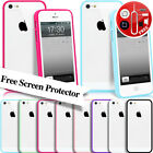 CLEAR HARD BACK SILICON TPU BUMPER COVER CASE FOR iPHONE 5G 5S FREE SCREEN GUARD