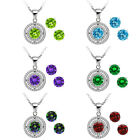 """3.00 Ct Round 6mm 925 Sterling Silver Pendant Earrings Set with 18"""" Silver Chain"""