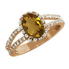 1.63 Ct Oval Whiskey Quartz White Sapphire Rose Gold Plated Sterling Silver Ring