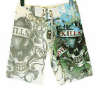 Bnwt Mens Ed Hardy Board Swim Surf Shorts Love Kills Slowly Paint New White