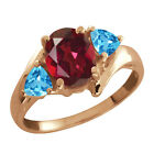2.16 Ct Oval Ruby Red Mystic Topaz and Topaz Gold Plated Silver Ring