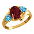 1.96 Ct Oval Red Rhodolite Garnet and Topaz Gold Plated Silver Ring
