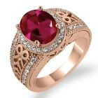 3.85 Ct Red Created Ruby White Sapphire Rose Gold Plated Sterling Silver Ring