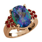 4.55 Ct Millenium Blue Mystic Quartz Red Garnet Rose Gold Plated Silver Ring