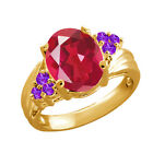 2.74 Ct Last Dance Pink Mystic Quartz Purple Amethyst Gold Plated Silver Ring