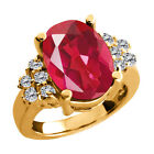 4.48 Ct Last Dance Pink Mystic Quartz White Diamond Gold Plated Silver Ring