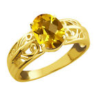 1.25 Ct Checkerboard Citrine Gold Plated Sterling Silver Ring