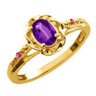 0.47 Ct Oval Purple Amethyst Pink Sapphire Gold Plated Sterling Silver Ring
