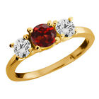 1.10 Ct Round Red Garnet and Diamond Gold Plated Sterling Silver Ring