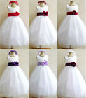 WHITE RED BURGUNDY PURPLE PLUM BABY TODDLER BRIDAL PARTY GOWN FLOWER GIRL DRESS
