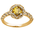 1.68 Ct Round Champagne Quartz 925 Yellow Gold Plated Silver Ring