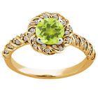 1.63 Ct Round Yellow Lemon Quartz 925 Yellow Gold Plated Silver Ring